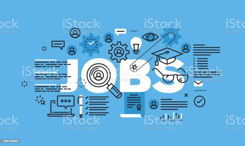 Modern thin line design concept for JOBS website banner vector art illustration