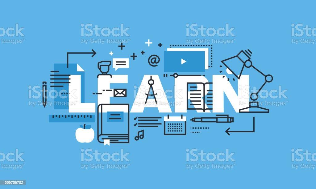 Modern thin line design concept for LEARN website banner vector art illustration