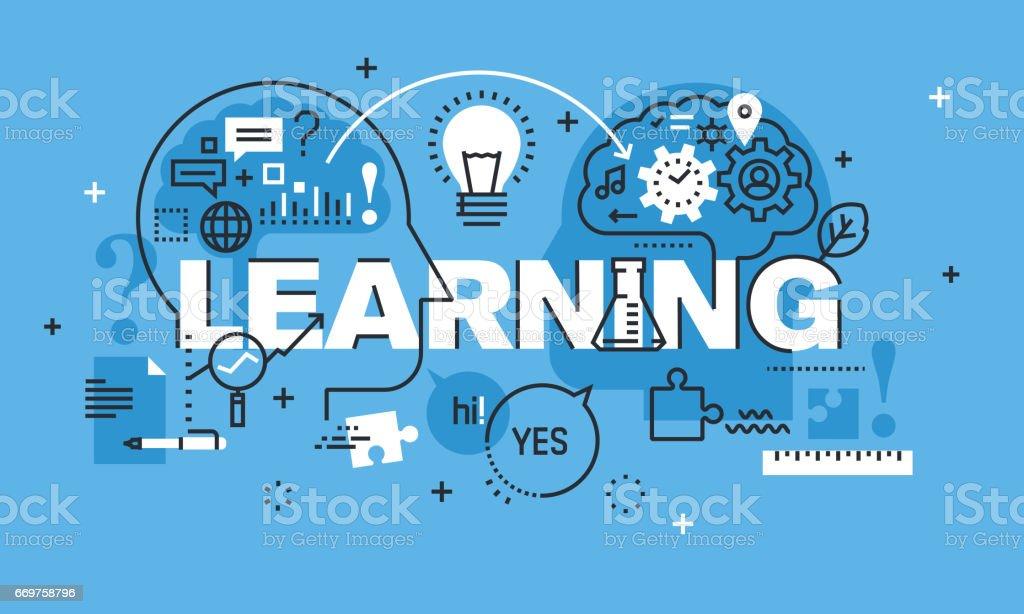 Modern thin line design concept for LEARNING website banner vector art illustration