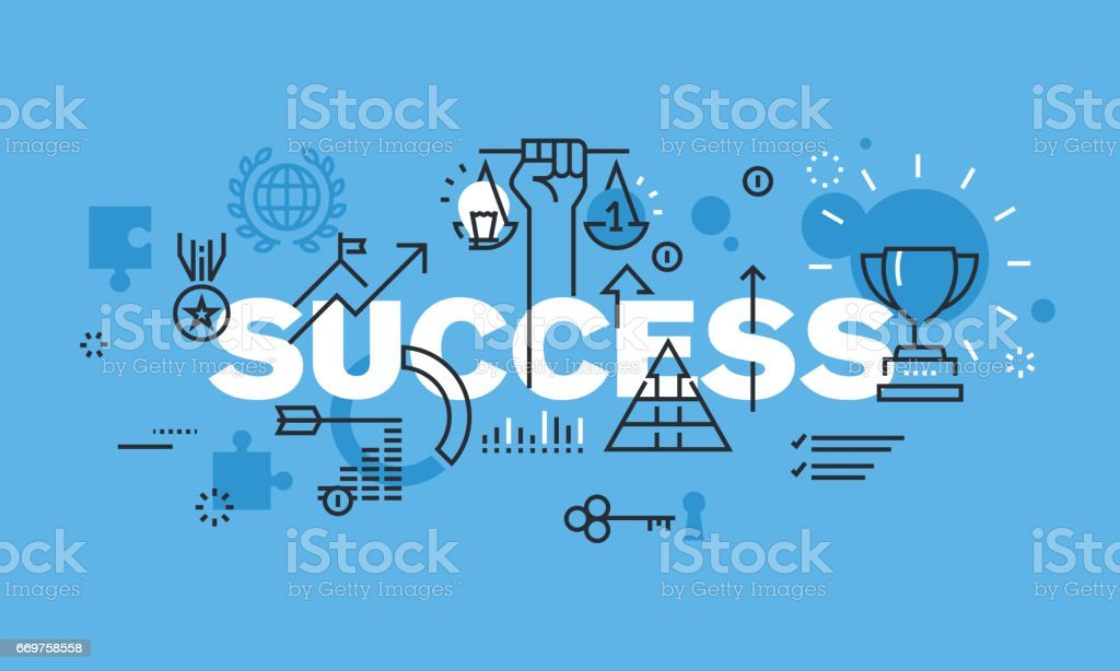 Modern thin line design concept for SUCCESS website banner vector art illustration