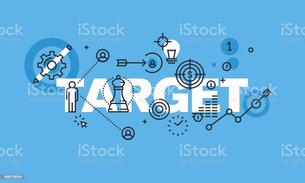 Modern thin line design concept for TARGET website banner vector art illustration