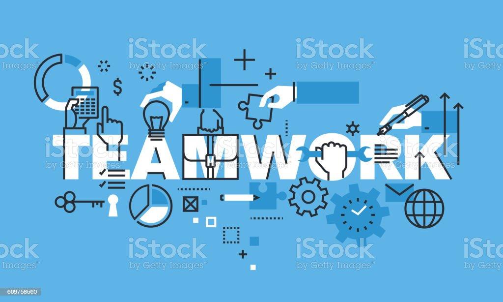 Modern thin line design concept for TEAMWORK website banner vector art illustration