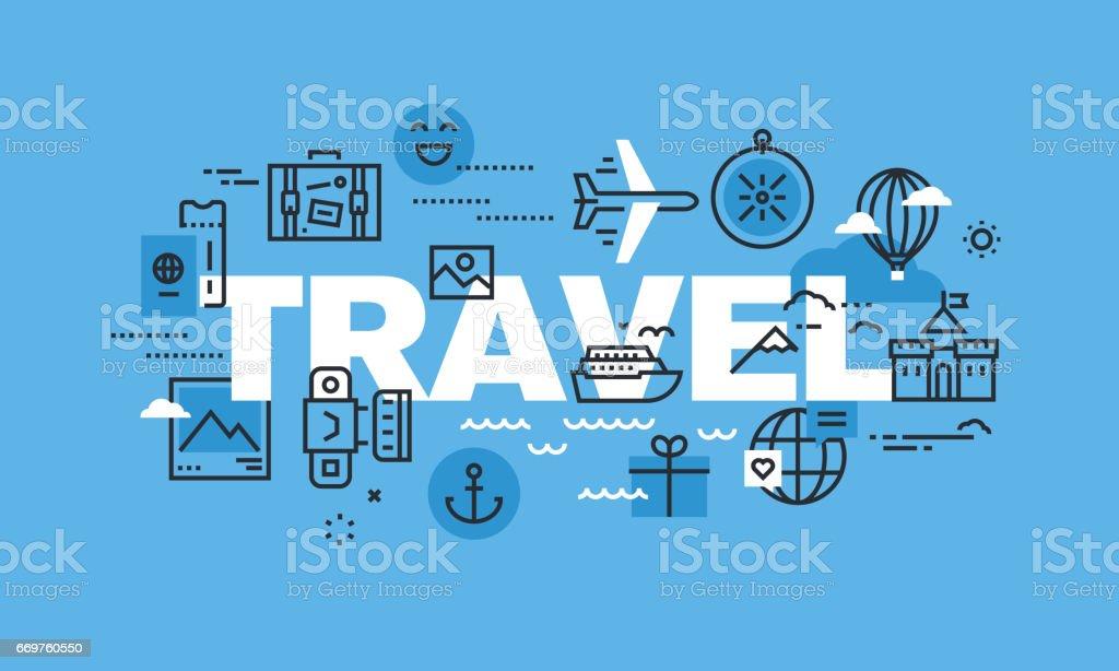 Modern thin line design concept for TRAVEL website banner vector art illustration