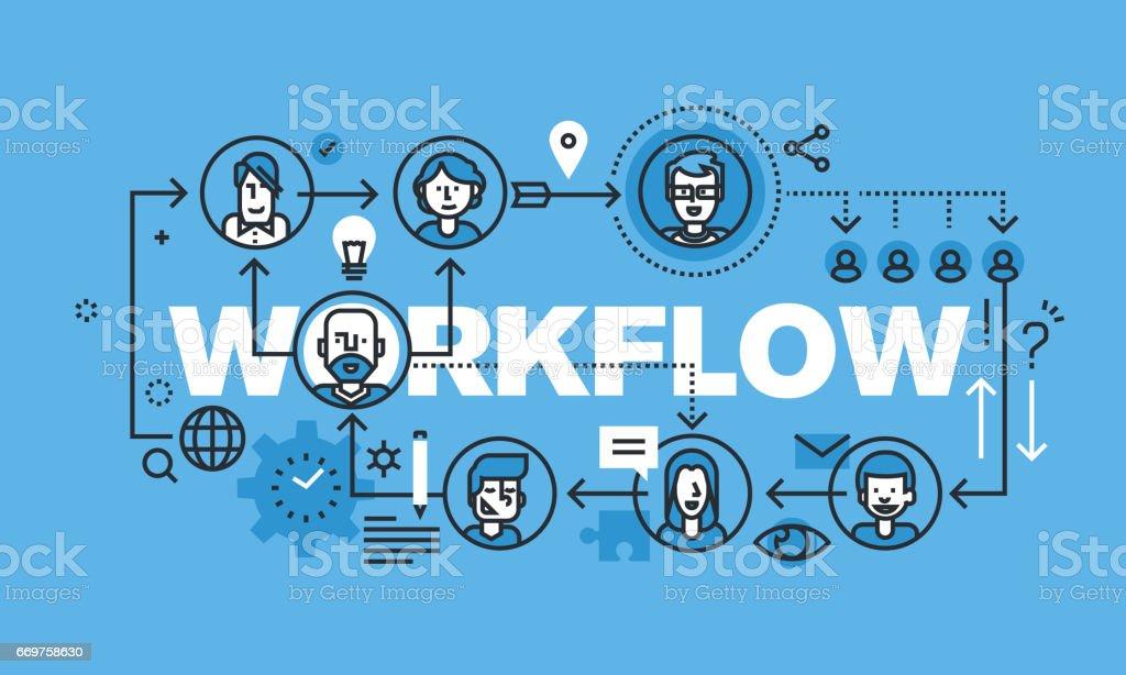 Modern thin line design concept for WORKFLOW website banner vector art illustration