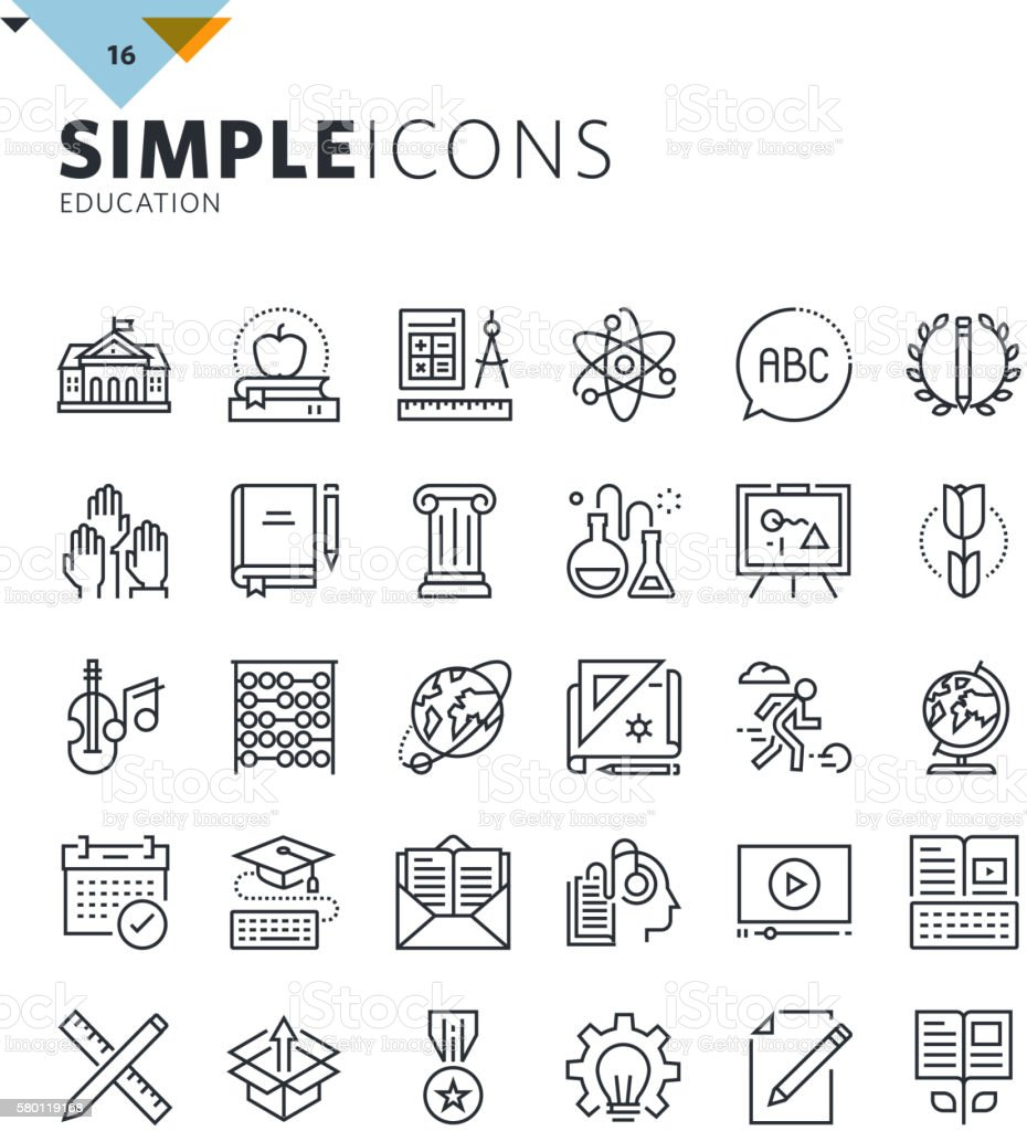 Modern thin line education icons vector art illustration