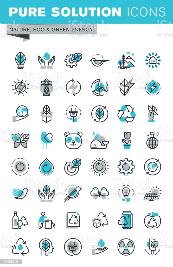 Moderno delgado línea diseño plano conjunto de iconos de la ecología illustracion libre de derechos libre de derechos