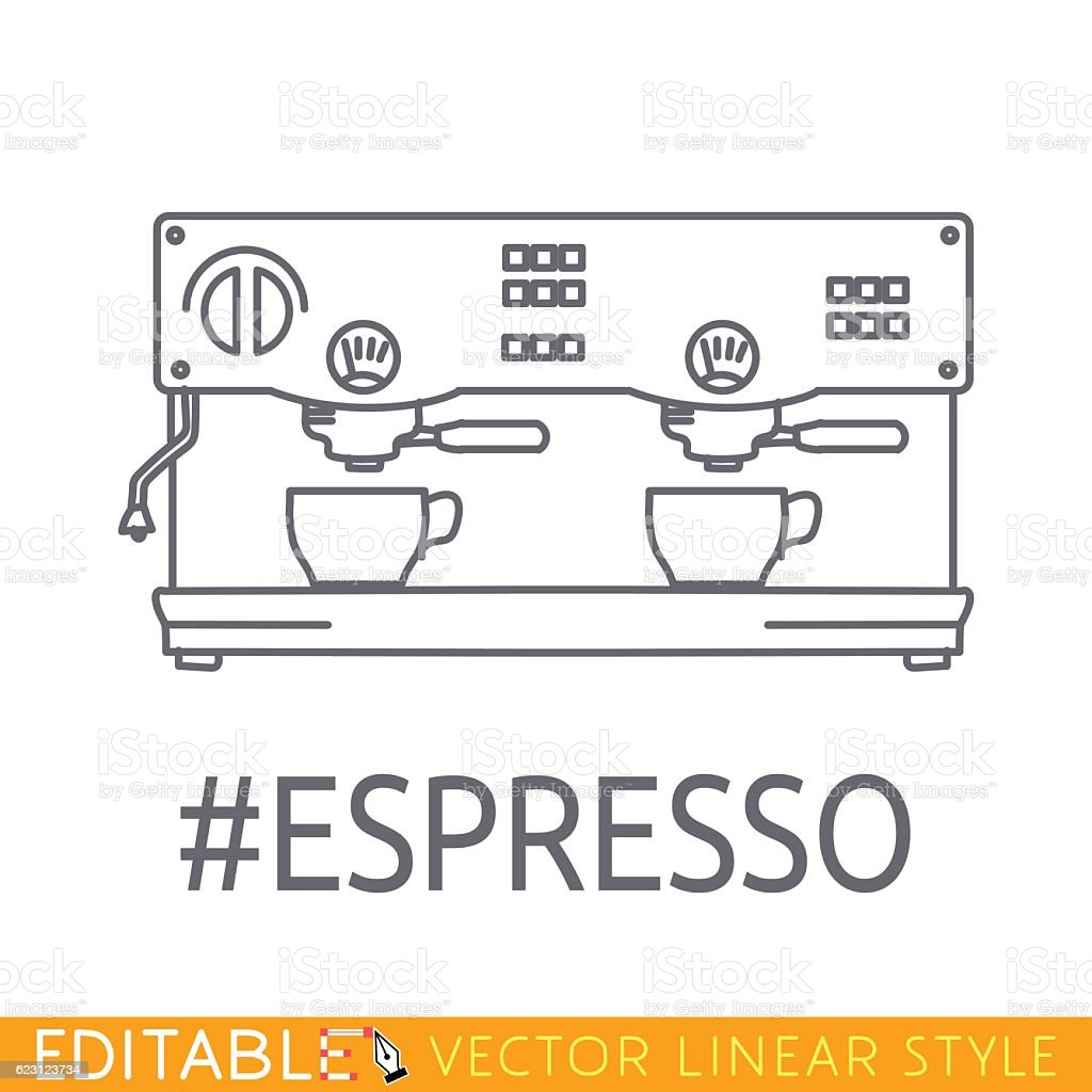 Modern thin line icon of coffee machine. Premium quality outline vector art illustration