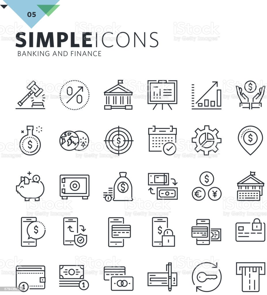 Modern thin line icons of banking vector art illustration