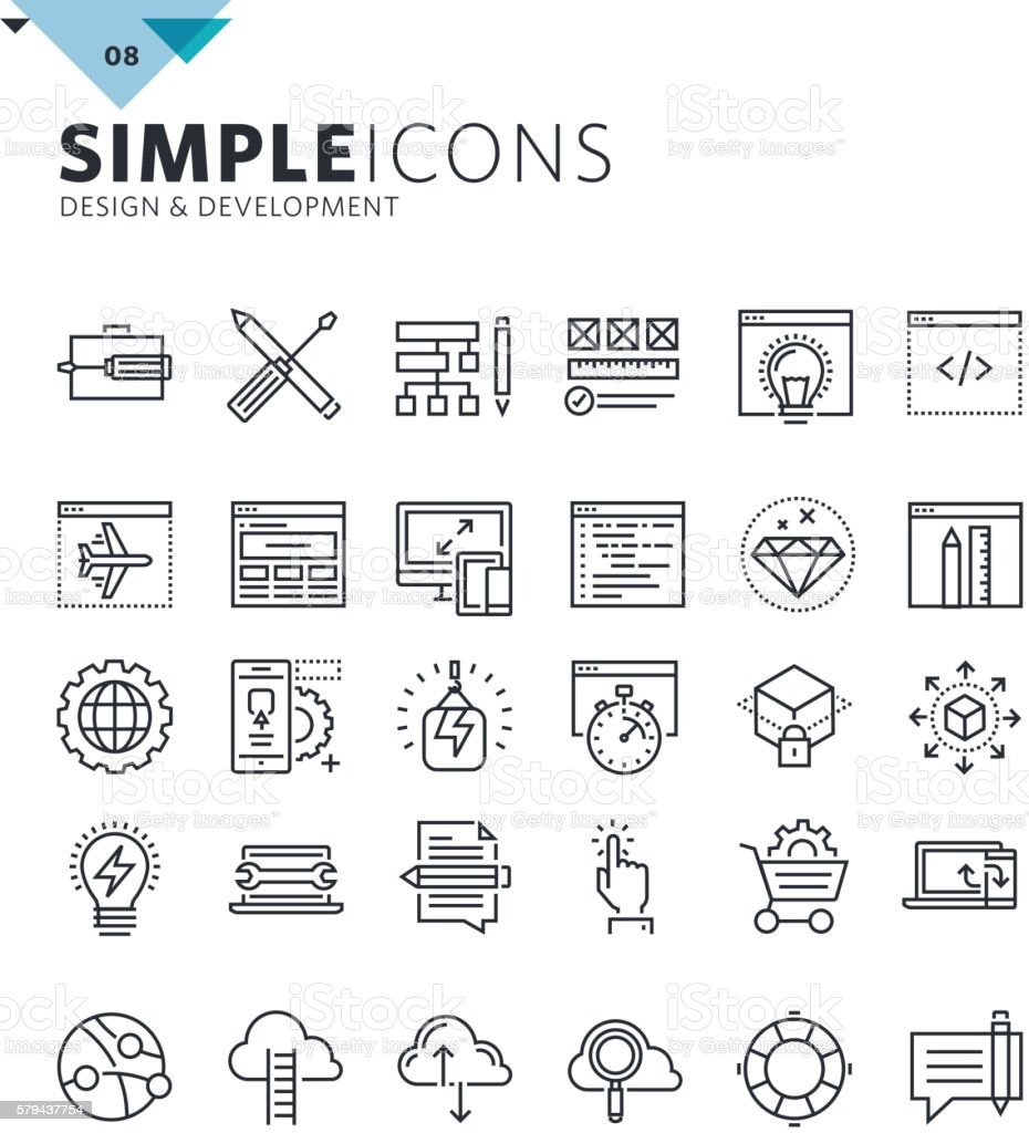 Modern thin line icons of design and development vector art illustration