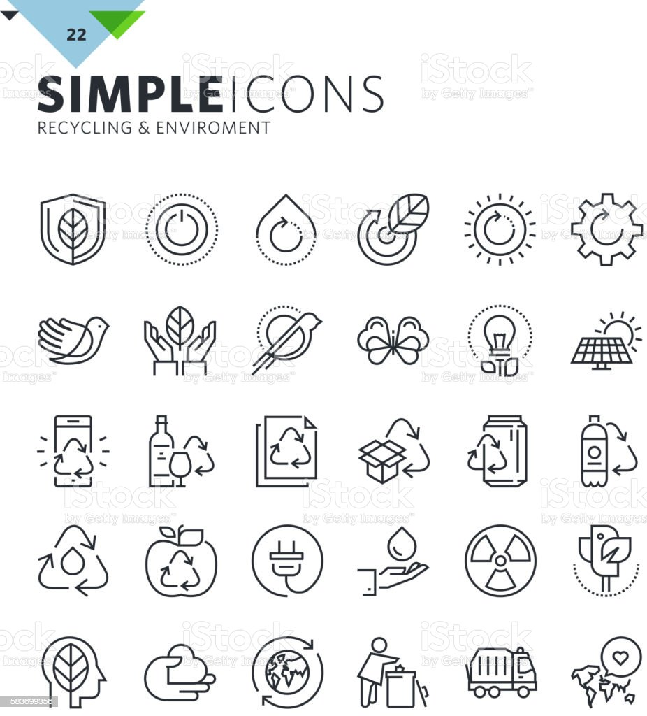 Modern thin line icons of ecology and recycling vector art illustration