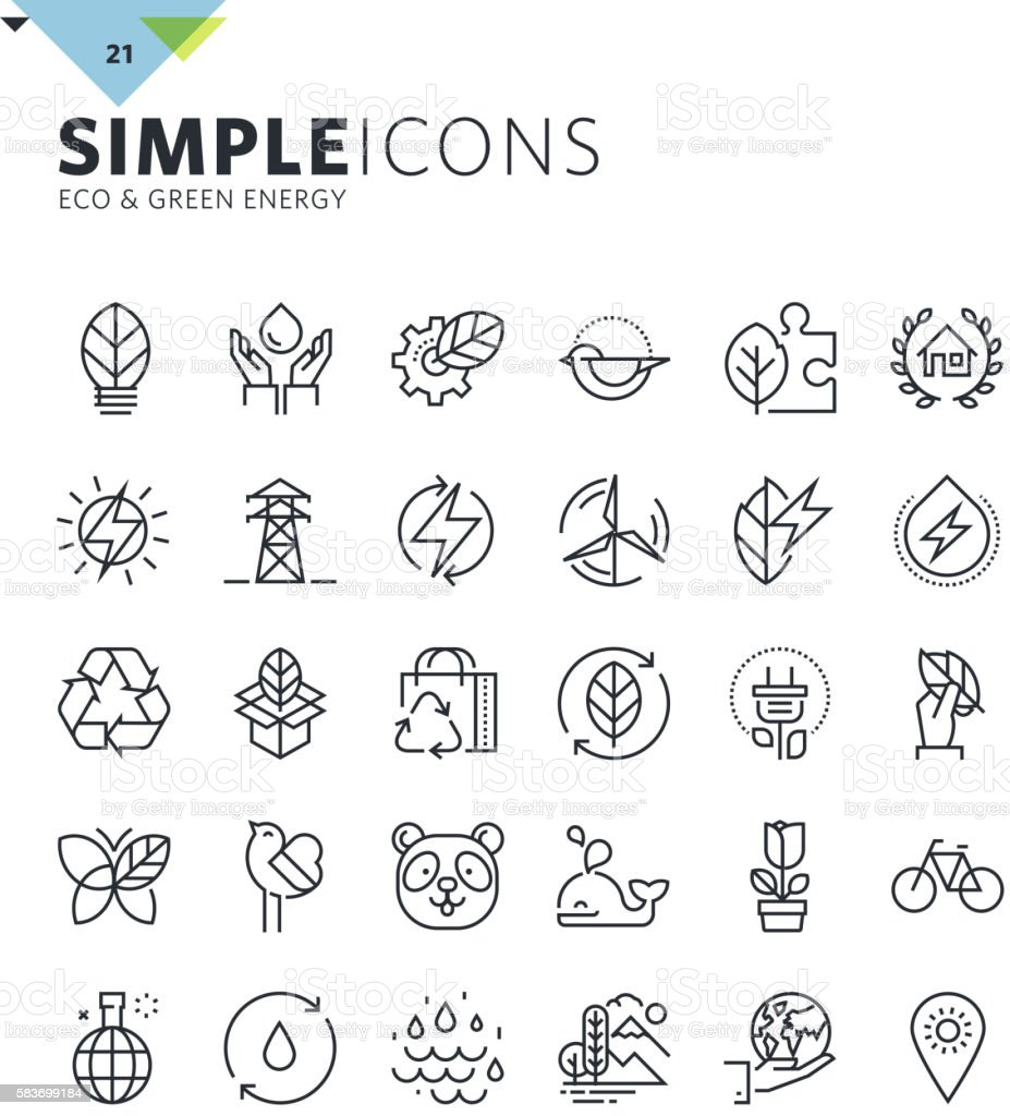 Modern thin line icons of environment and green energy vector art illustration