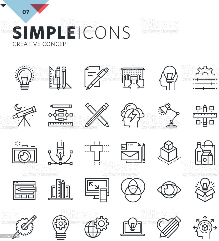 Modern thin line icons of graphic design and creative work vector art illustration