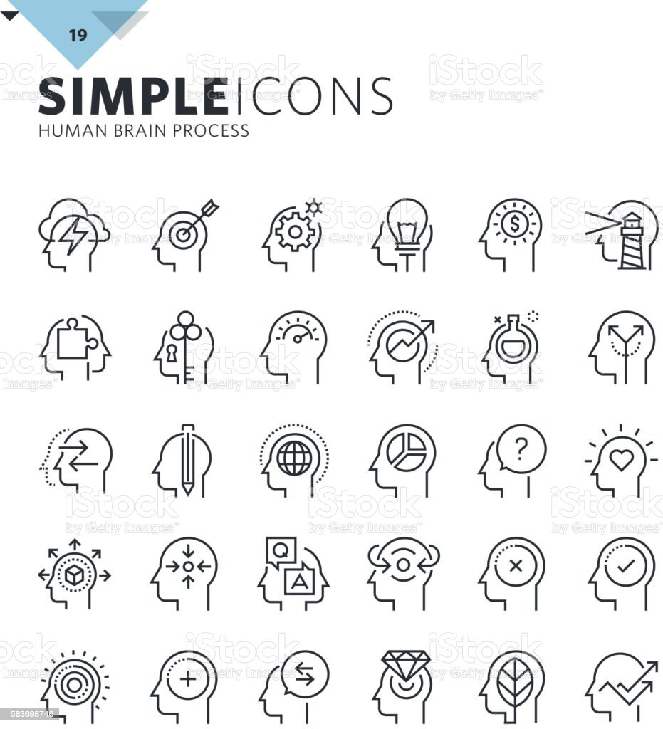 Modern thin line icons of human features and emotions vector art illustration