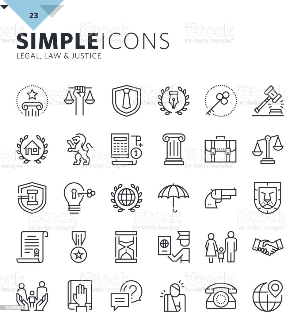 Modern thin line icons of law and lawyer services vector art illustration