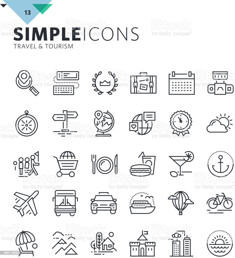 Modern thin line icons of travel and tourism vector art illustration