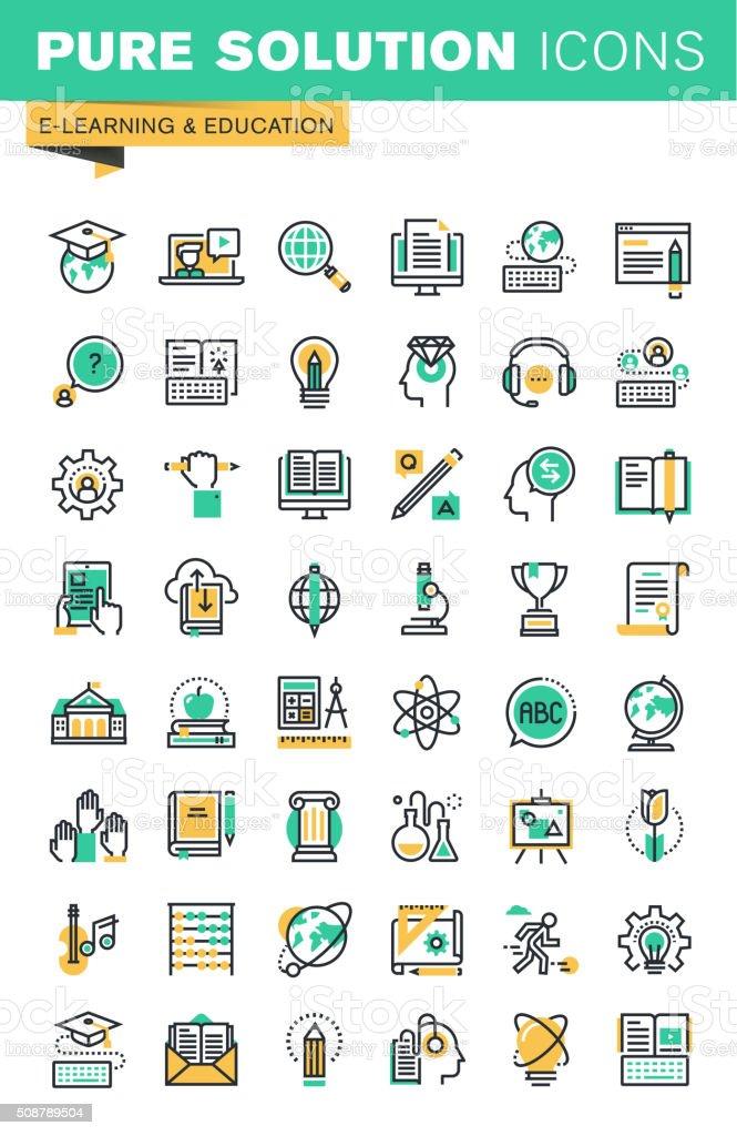 Moderno delgado línea conjunto de iconos educación a distancia illustracion libre de derechos libre de derechos
