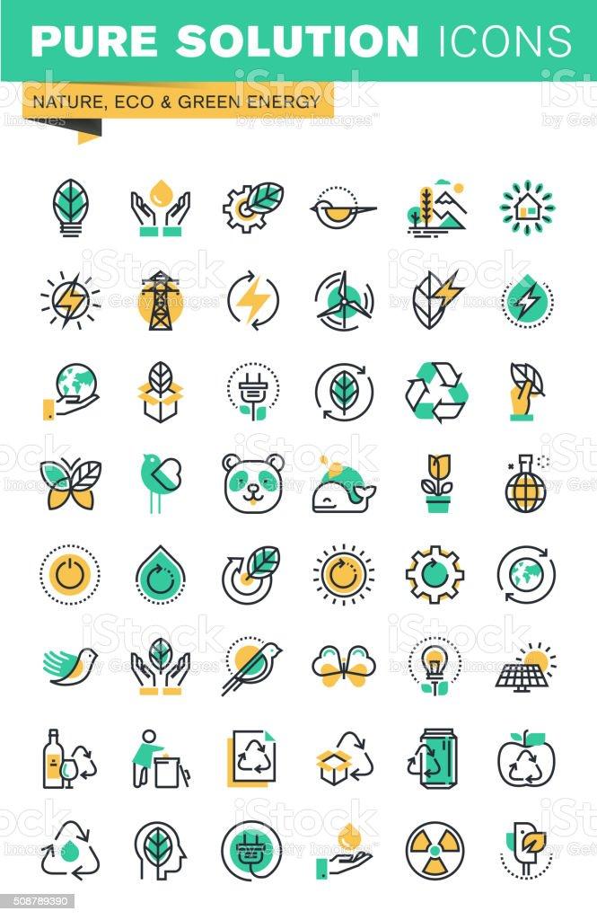 Modern thin line icons set of sustainable technology, renewable energy vector art illustration