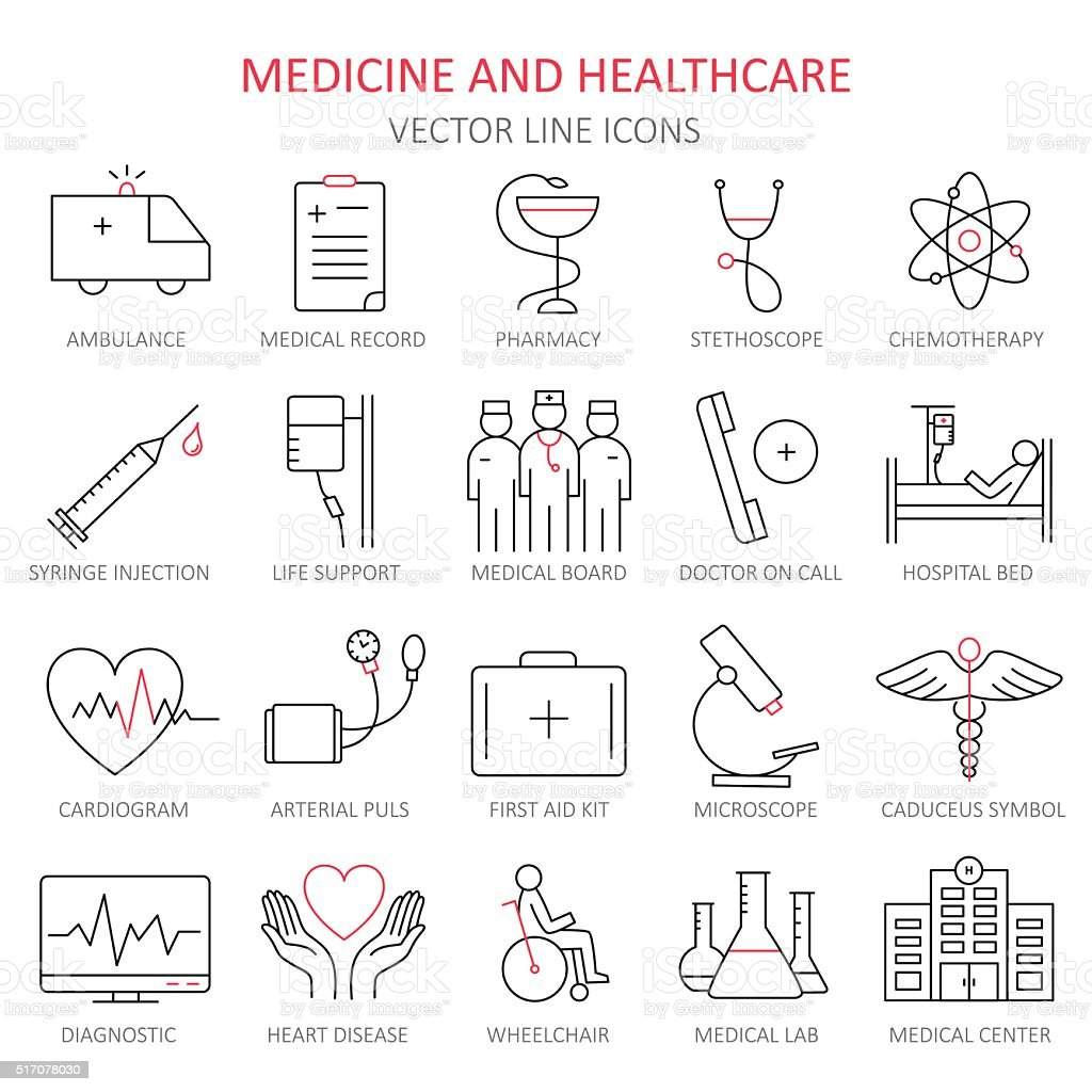 Modern thin line of icons on medicine. vector art illustration