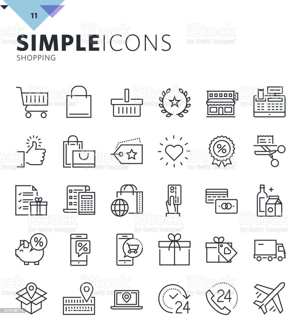 Modern thin line shopping web icons vector art illustration