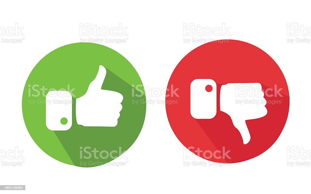 Modern Thumbs Up and Thumbs Down Icons vector art illustration