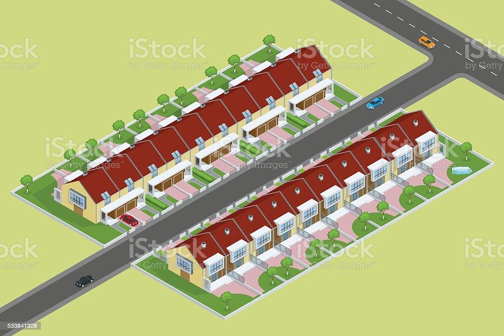 Modern townhouses vector art illustration