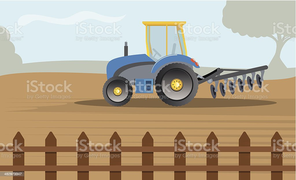 Modern tractor ploughing field royalty-free stock vector art