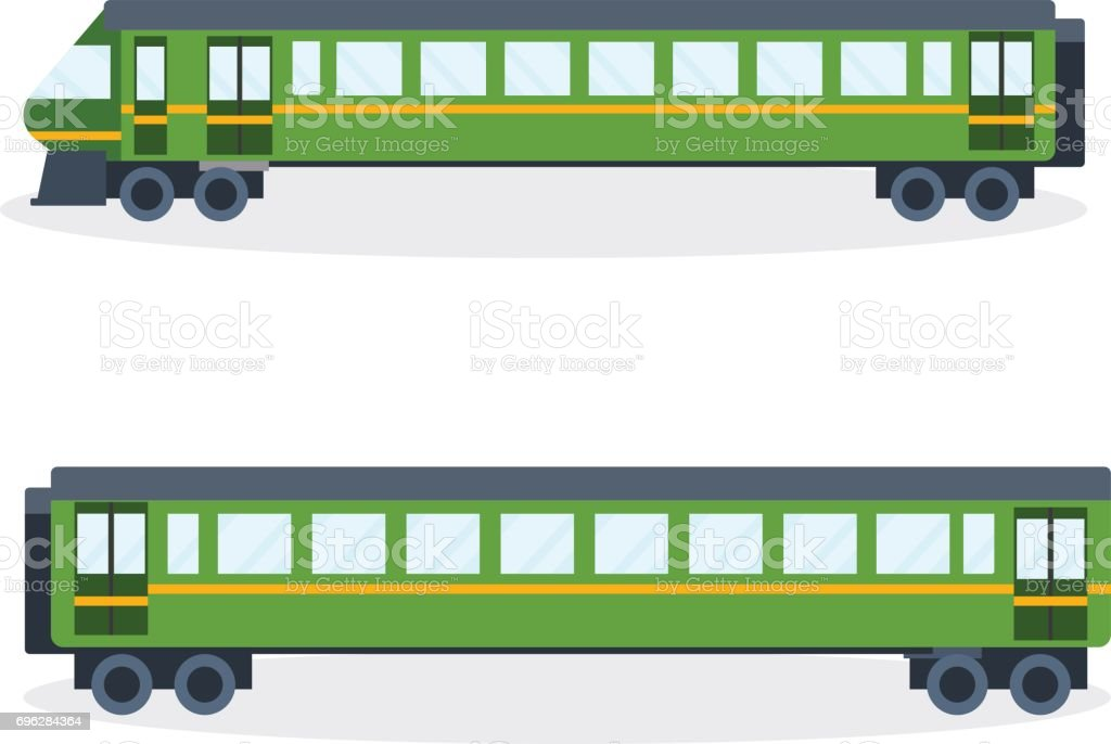 Modern train on railway. Vector illustration isolated vector art illustration