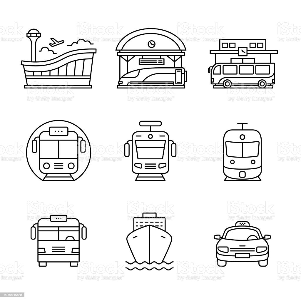 Modern transportation and urban infrastructure set vector art illustration