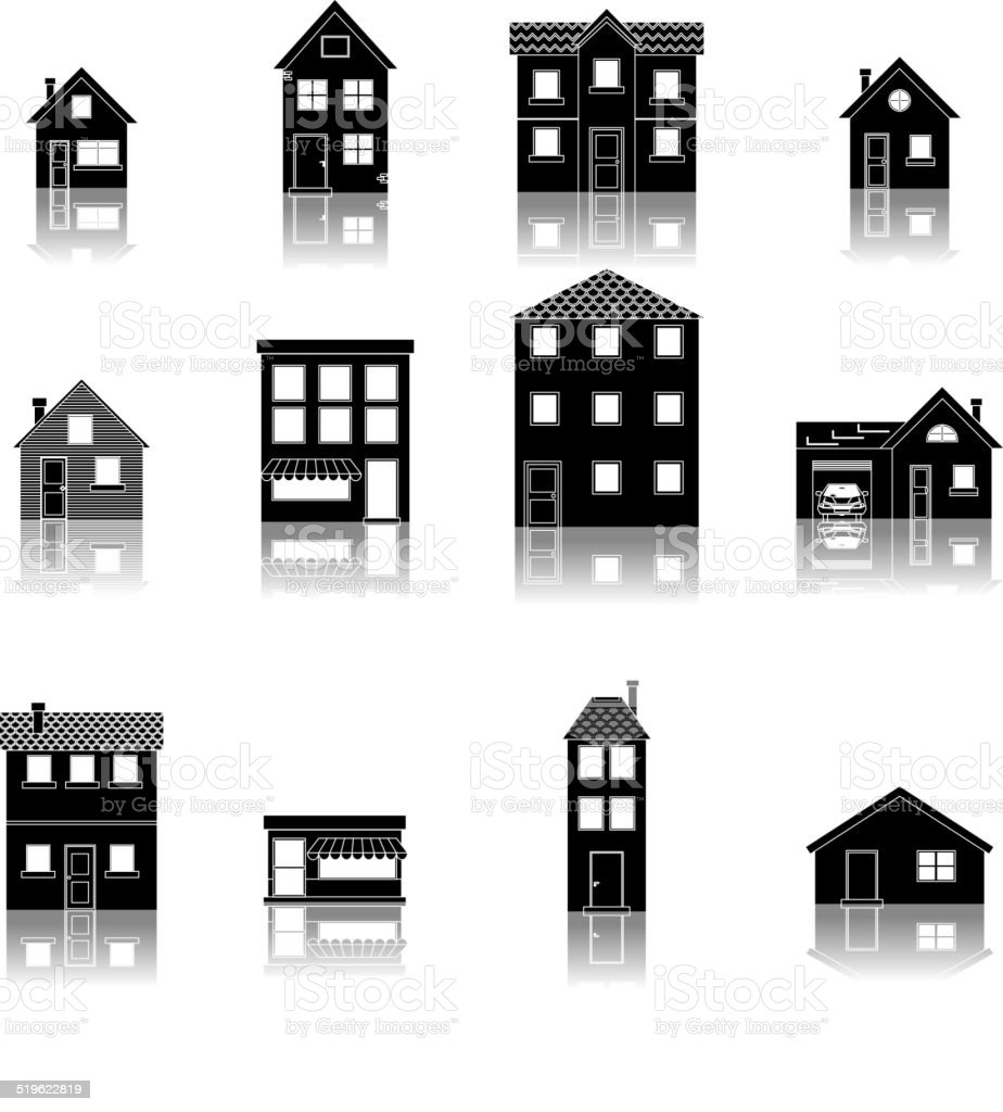 Modern trendy retro house street flat icons set vector illustration vector art illustration
