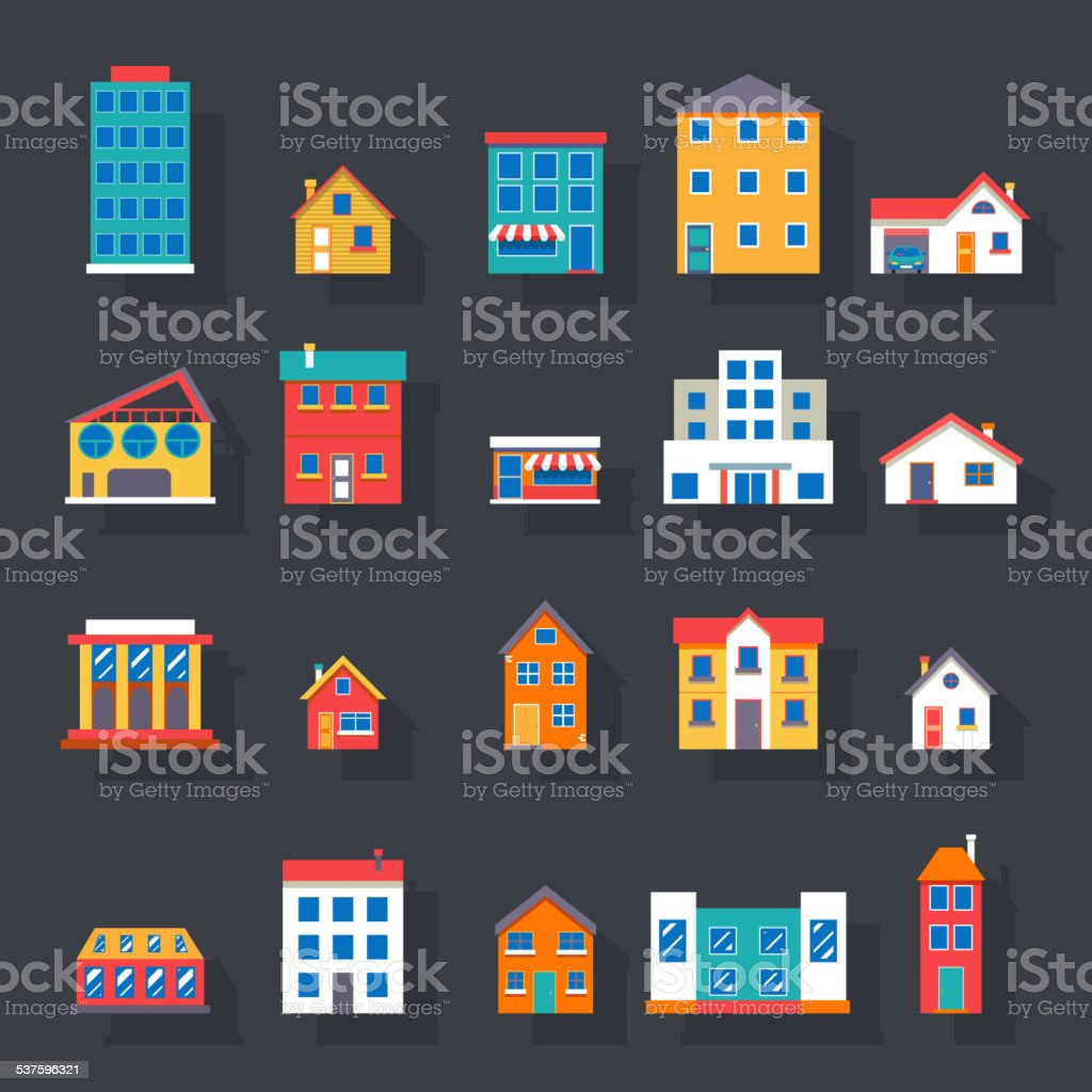 Modern trendy retro house street flat icons set vector illustration vector art illustration
