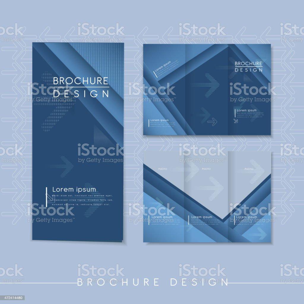 modern tri-fold template design with streak element vector art illustration