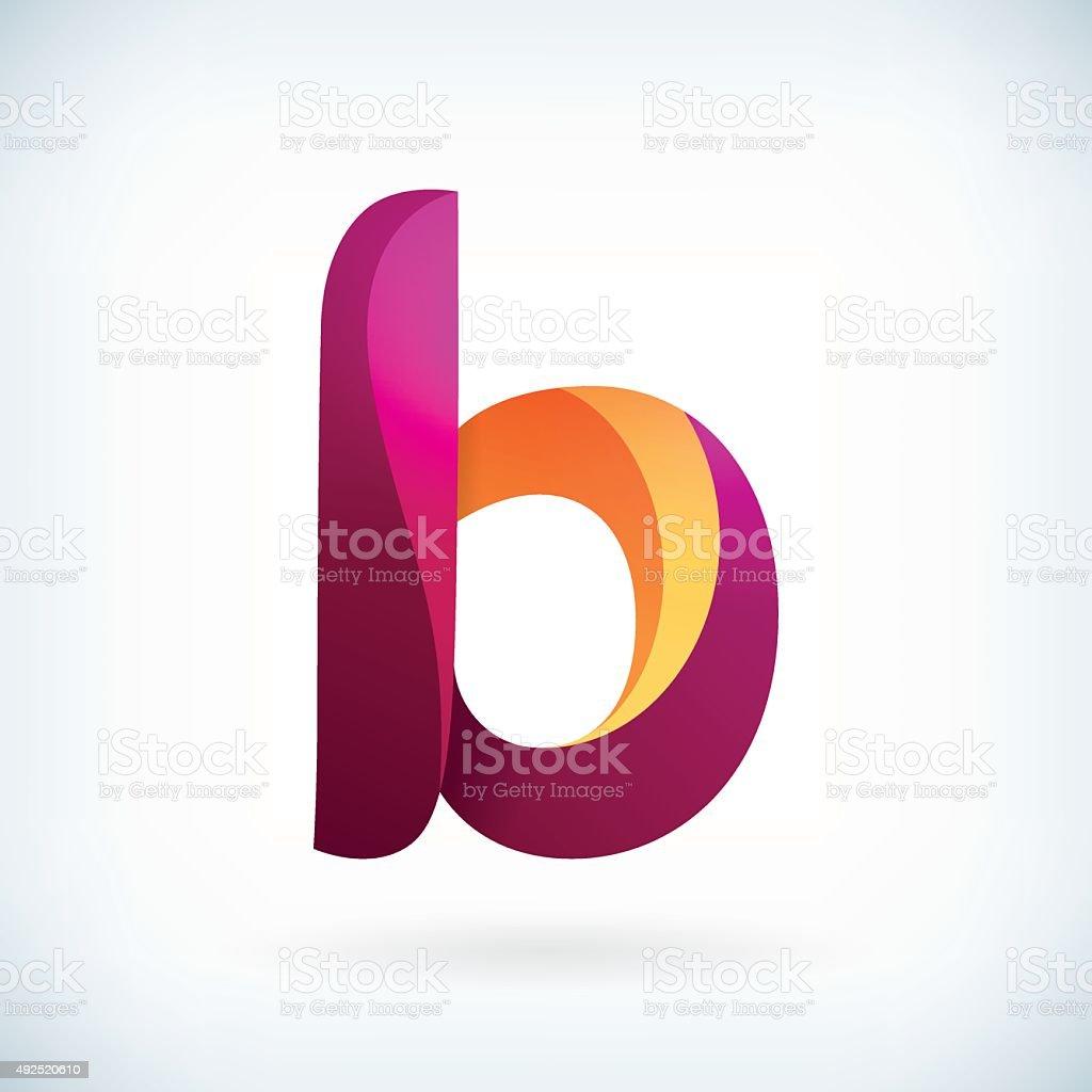 Modern twisted letter b vector art illustration