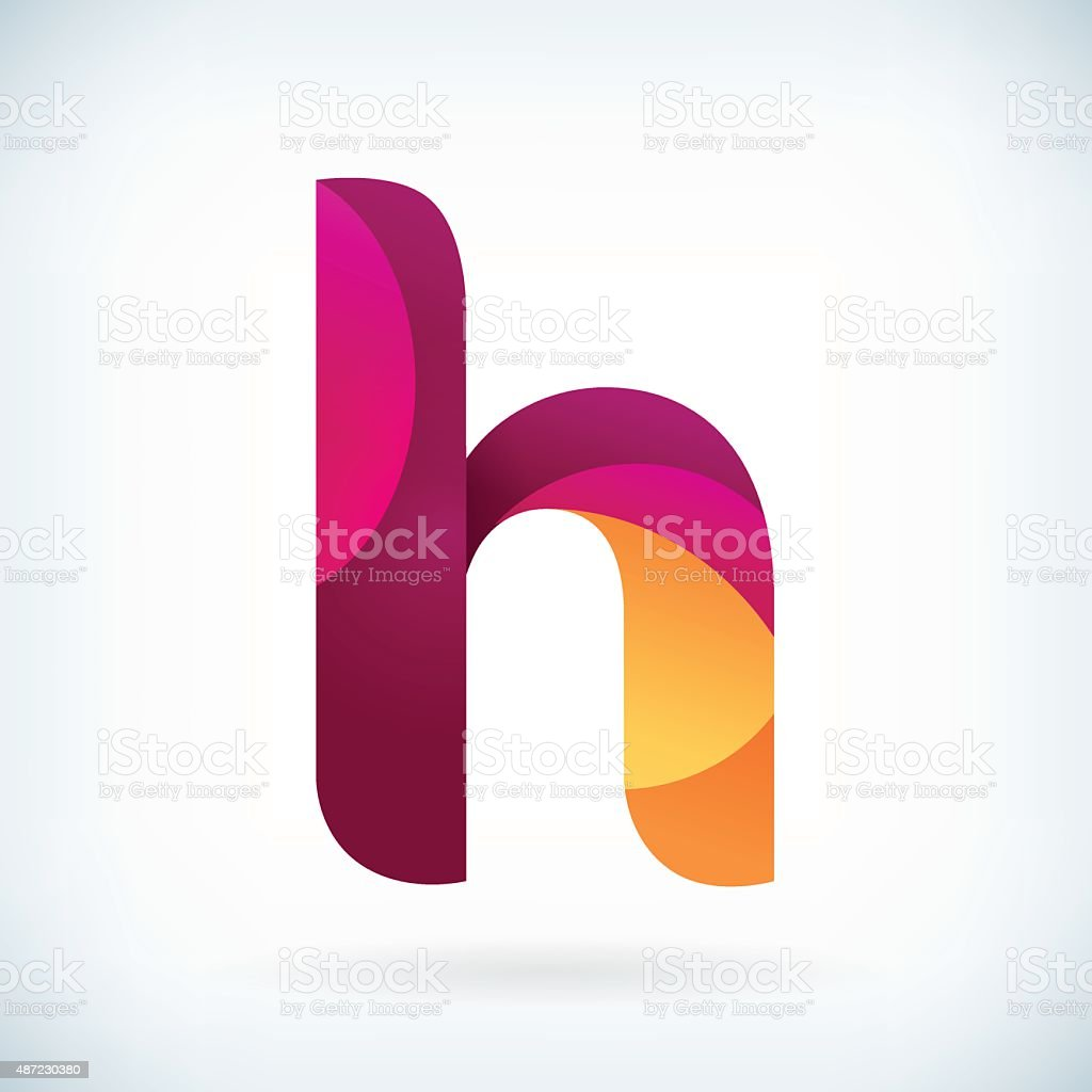 Modern twisted letter H vector art illustration