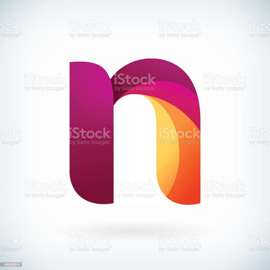 Modern twisted letter n vector art illustration
