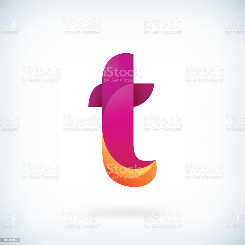Modern twisted letter t vector art illustration