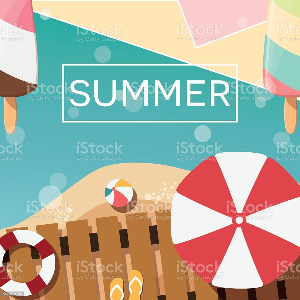Design poster ice cream - Modern Typographic Summer Poster Design With Ice Cream Beach