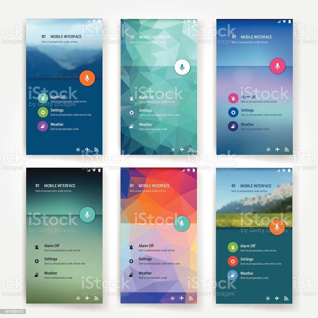 Modern user interface screen template for mobile smart phone or vector art illustration