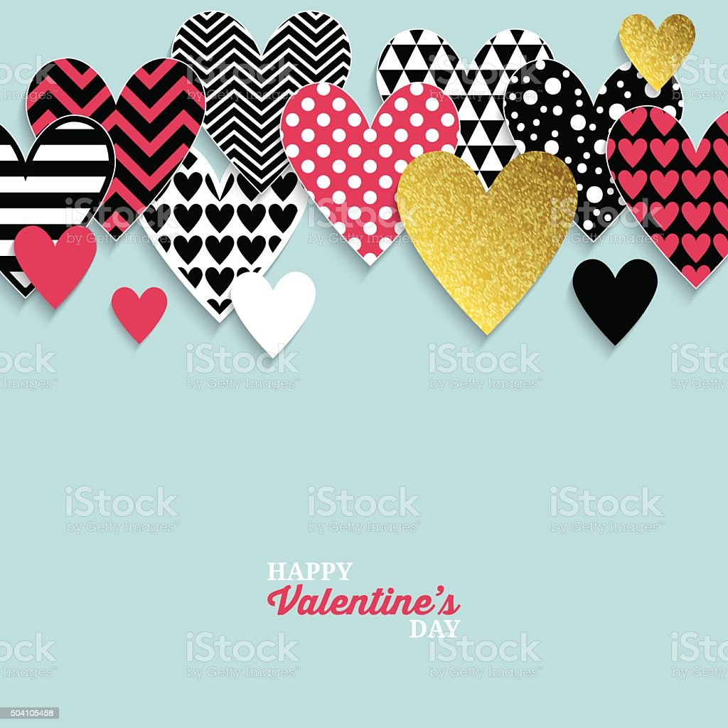 Modern Valentine's day abstract background with paper hearts. vector art illustration
