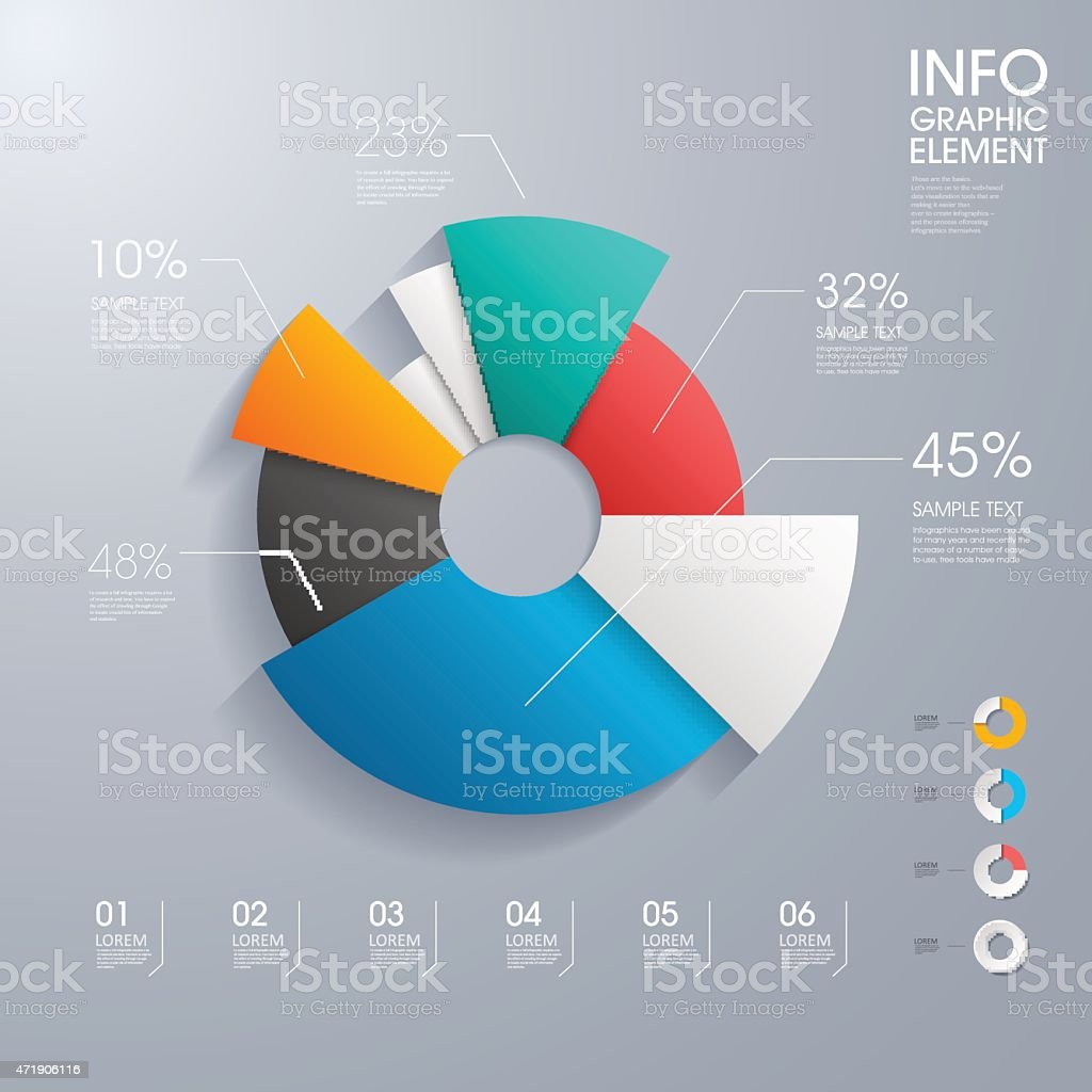 Modern vector abstract pie chart infographic vector art illustration
