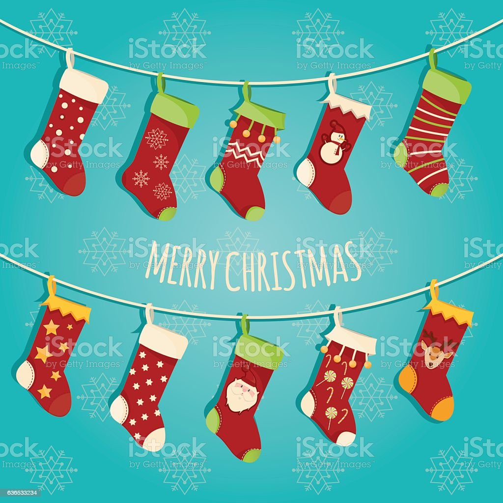 Modern vector illustration of Christmas socks with different des vector art illustration