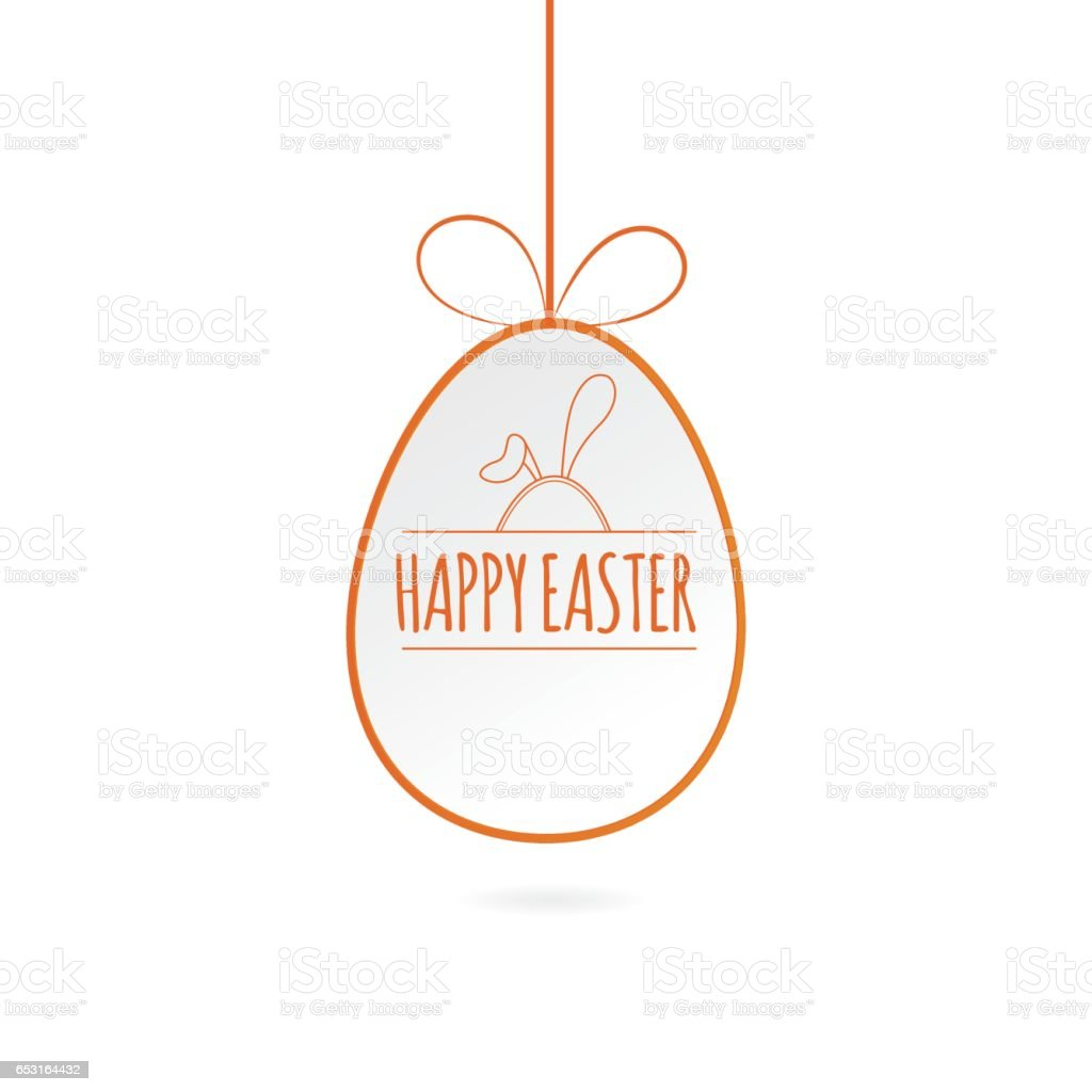 Modern vector illustration of Colorful Happy Easter with eggs and rabbits vector art illustration