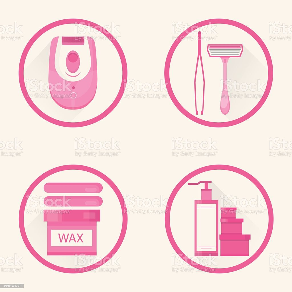 Modern vector illustration of different methods of hair removal. vector art illustration