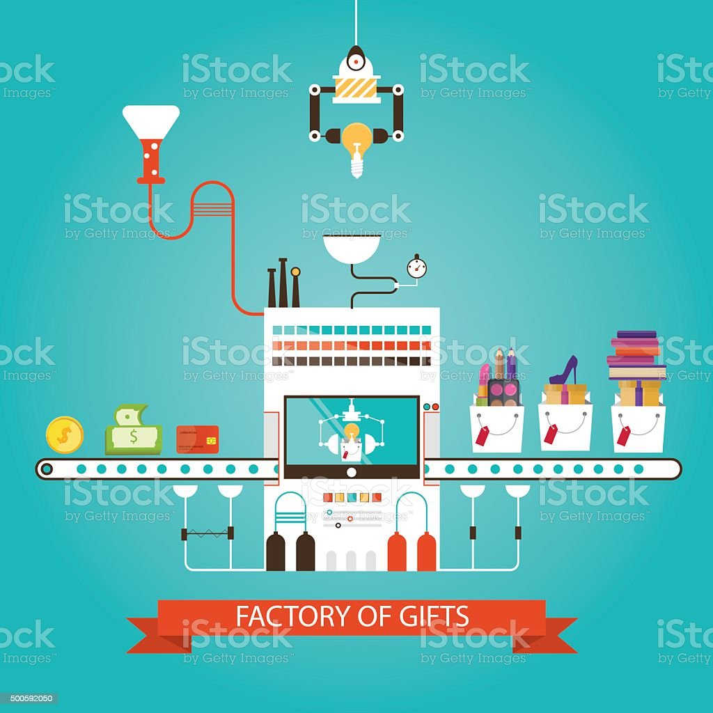 Modern vector illustration of manufacturing gifts, gifts factory vector art illustration