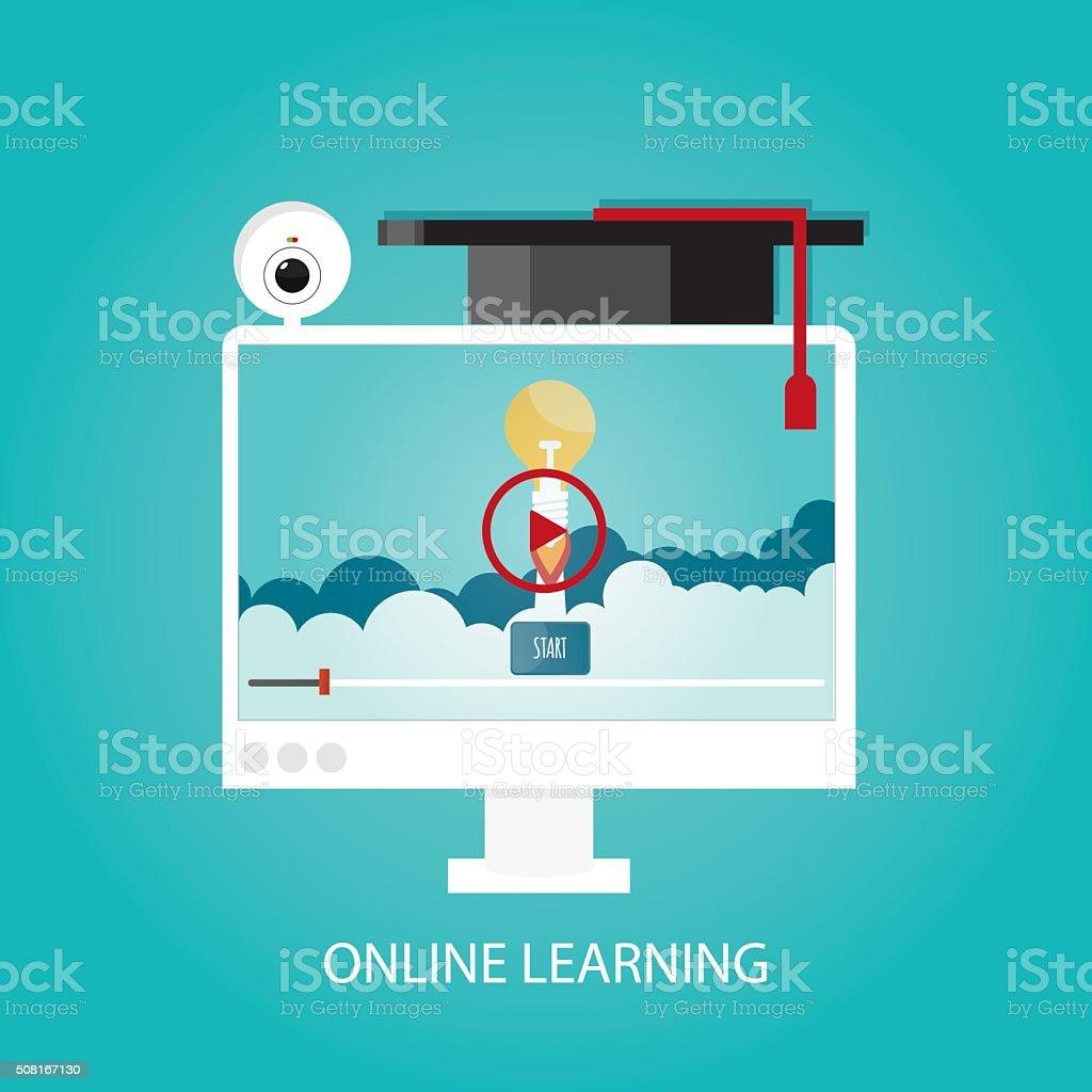 Modern vector illustration of webinar and online learning. vector art illustration