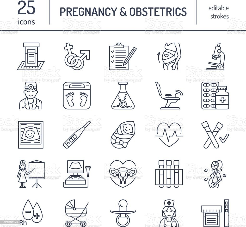 Modern vector line icon of pregnancy management, obstetrics. Gynecology elements vector art illustration