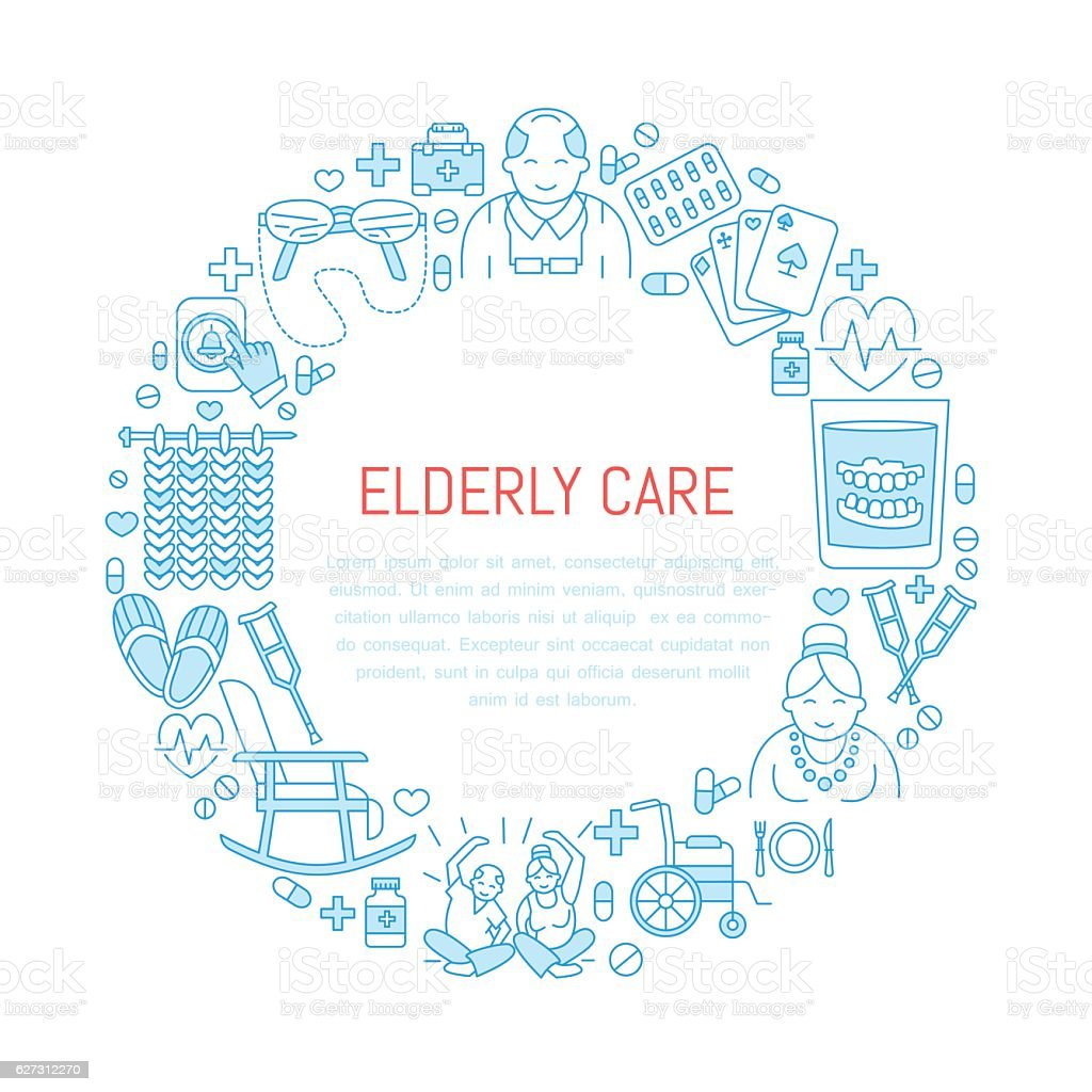 Modern vector line icon of senior and elderly care. Medical vector art illustration