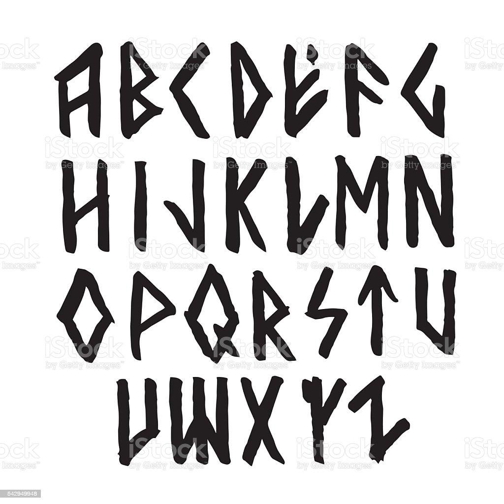 Modern vector runic style alphabet. vector art illustration