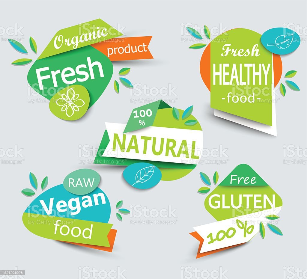 Modern vector set of healthy organic food labels. vector art illustration