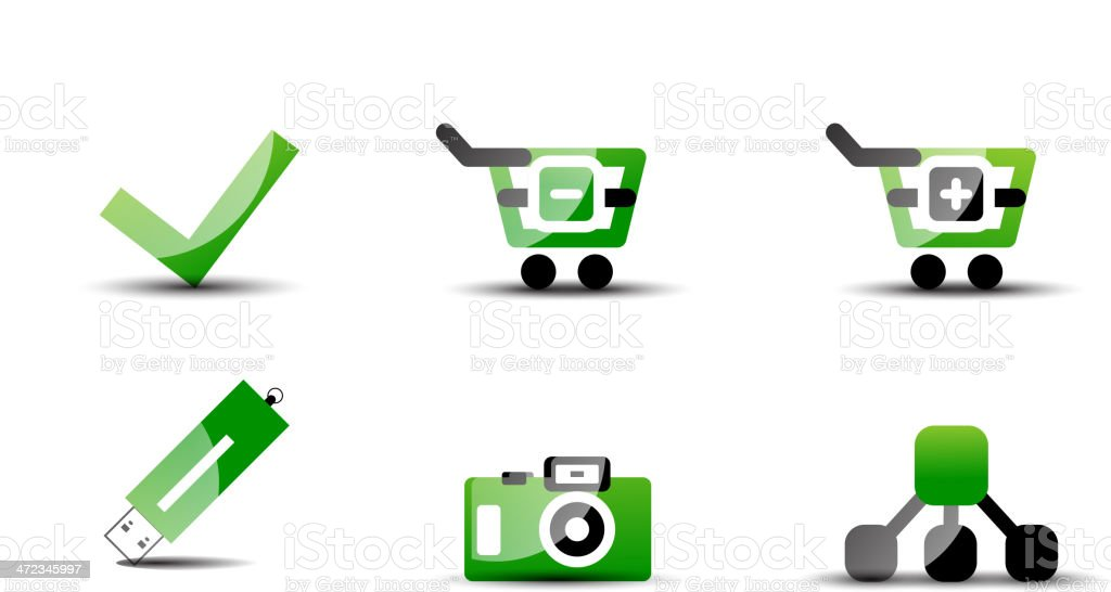 Modern vector web green and black clean icon set royalty-free stock vector art