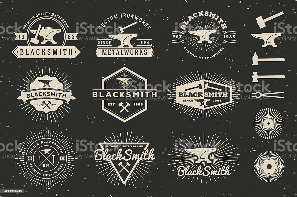 Modern Vintage Blacksmith and Metalworks Badge Logo Template vector art illustration